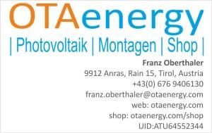 Visitenkarte OTAenergy Geschäftsführer Franz Oberthaler