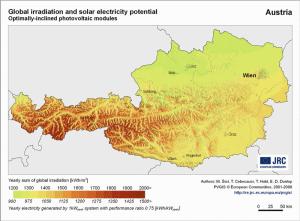 Österreich solare Sonneneinstrahlung in kWh/m² zur Fotovoltaik Nutzung