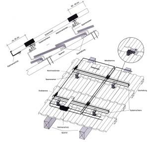 Montage Photovoltaik-Anlagen: Schrägdachsysteme: Ziegeldach, Montagepunkt: Sparrenanker – einlagig, Module hochkant