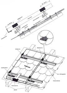 Montage Photovoltaik-Anlagen: Schrägdachsysteme: Eternit-Schindeldach,Montage der Module im Hochformat