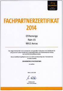 Fachpartnerzertifikat-Solarworld 2014
